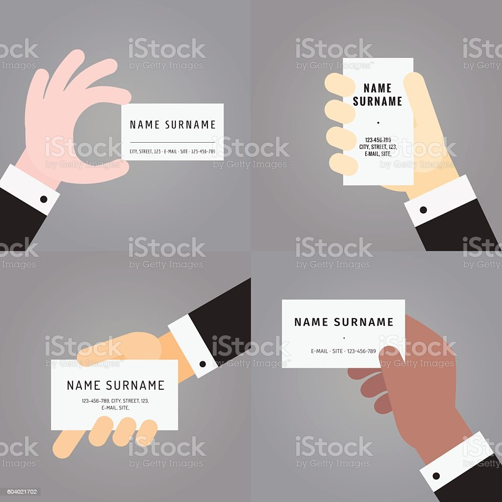 Business card in hand flat vector set stock vector art 604021702 business card in hand in suit flat vector set royalty free stock magicingreecefo Choice Image