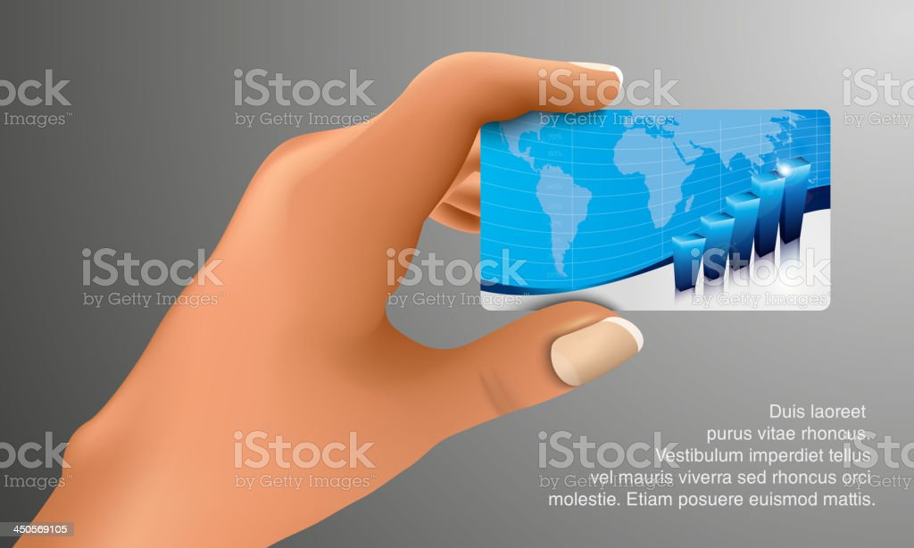 Business card in hand royalty-free stock vector art