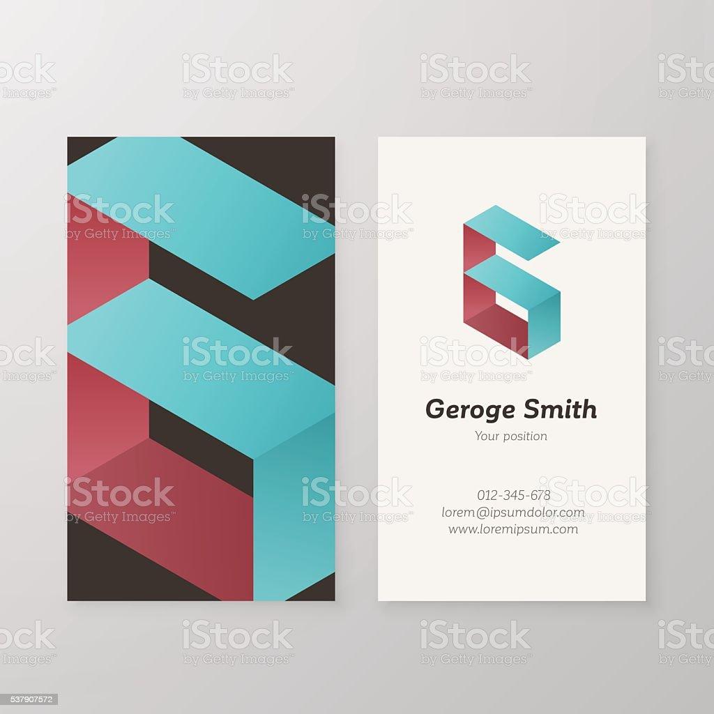 Tarjeta De Presentación Isométrica Vector Logotipo Letra G De ...