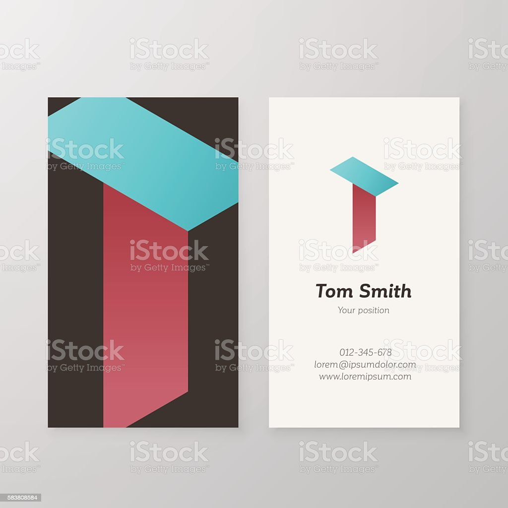 Business Card Isometric Logo Letter T Vector Template Stock Vector ...