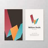 Business card isometric logo letter W vector template.