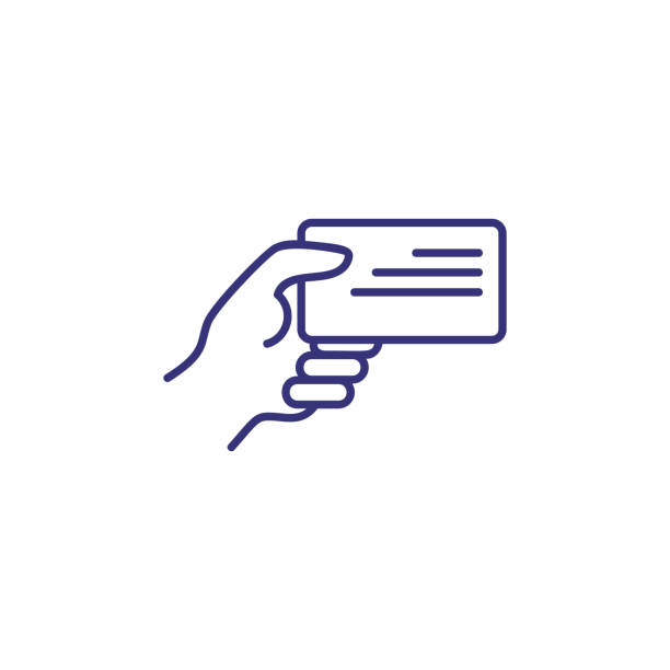 Business card line icon Business card line icon. Human hand holding badge. Identity concept. Can be used for topics like business id, verification, license, document id card stock illustrations