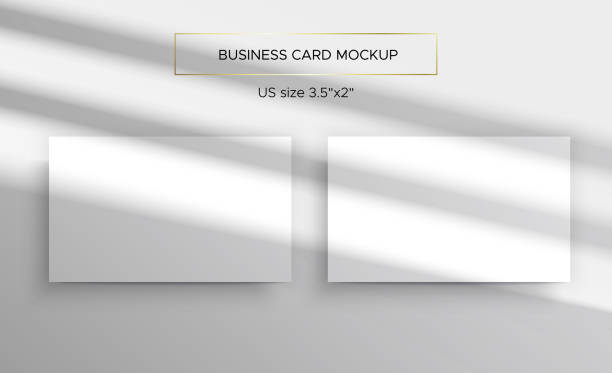 Business card Mockup. Top lighting shadows overlay Business card Mockups. Overlay on top of the shadows of natural lighting. Photorealistic vector illustration. Scene shadows from the window. Business cards 3.5x2 inch. Minimalistic and clean layout. focus on shadow stock illustrations