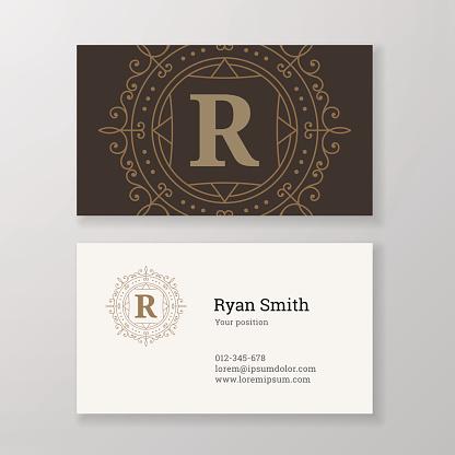 Business card monogram emblem letter R template design.