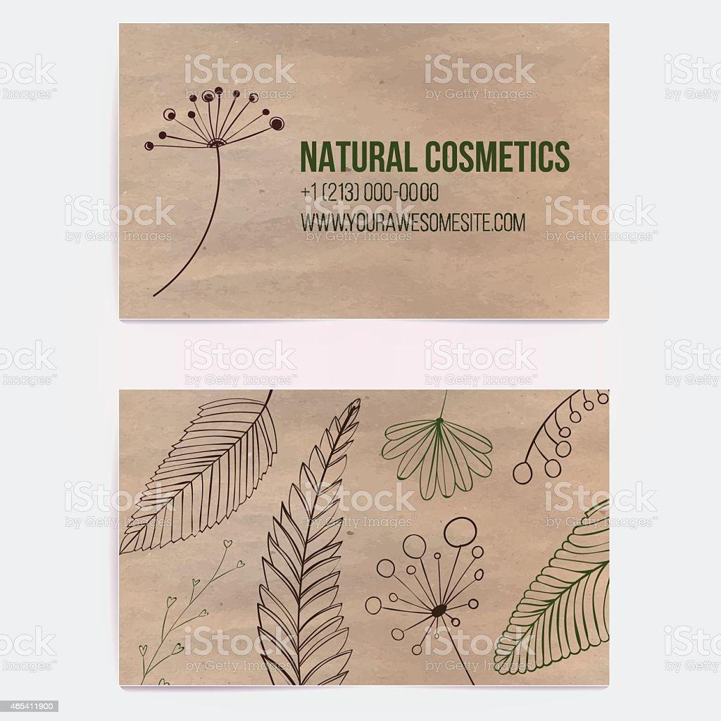 Visitenkarten Auf Handwerk Papier Mit Zweigen Und Pflanzen Stock Vektor Art Und Mehr Bilder Von 2015
