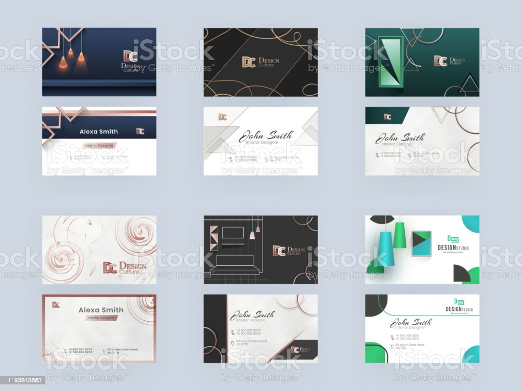 Business Card Or Visiting Card Set For Interior Designer Decorator Or Design Culture And Design Studio Stock Illustration Download Image Now Istock