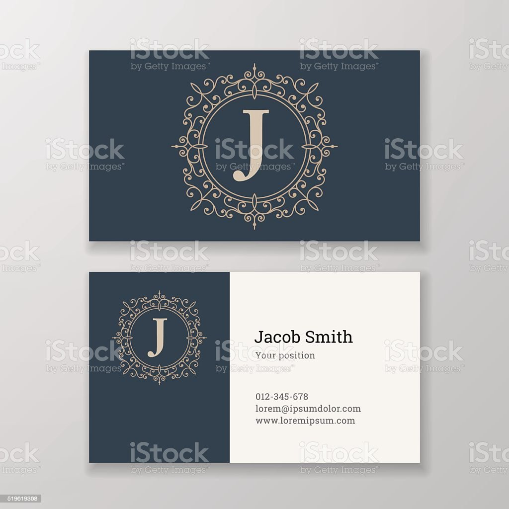 Business card ornament emblem letter J template design. vector art illustration