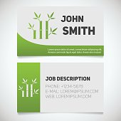 Business card print template with bamboo sticks sign