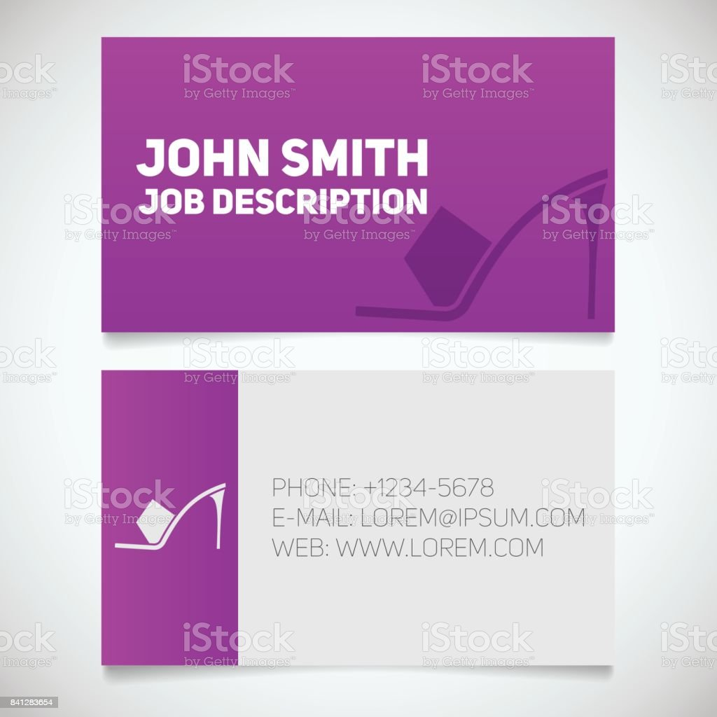 Business Card Print Template With High Heel Shoe Logo Stock Within High Heel Template For Cards