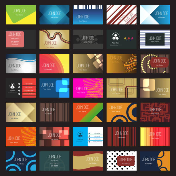 Business Card Set Modern Style Business Cards Design in Editable Vector Format business cards and stationery stock illustrations