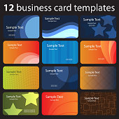Set of Various Retro Style Business Cards in Editable Vector Format