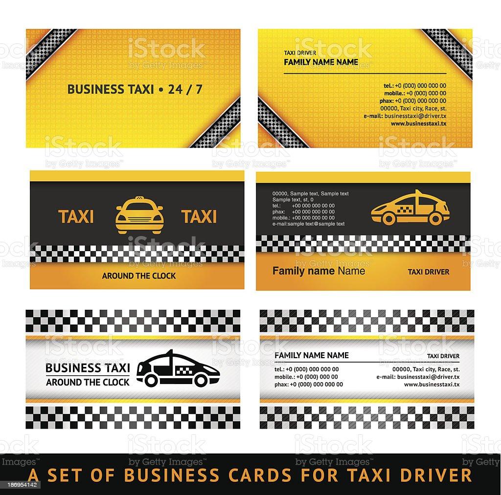Business card taxi - third set templates vector art illustration