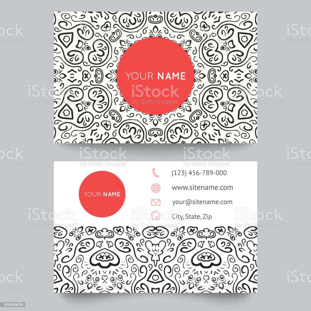 Modle De Cartes Visite Noir Rouge Et Blanc Motif Beaut Mode