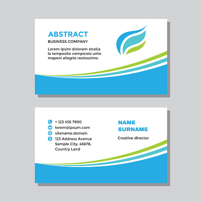Business card template concept design. Abstract visit card branding. Nature leaves health symbol. Vector illustration.