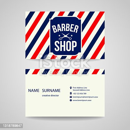 istock business card Template design for barber shop 1318789847