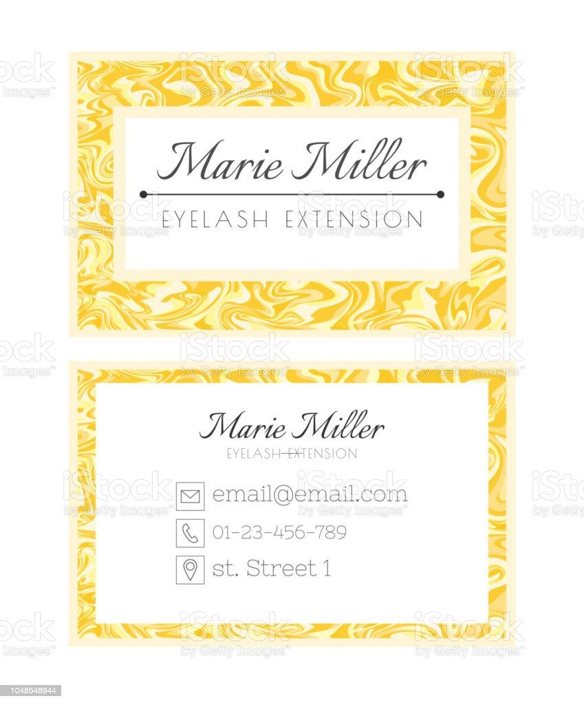 Visitenkarten Vorlagedesign Für Wellnessbeautysalon Dienstleistungen Auf Wimpernverlängerung Golden Luxus Layout Stock Vektor Art Und Mehr Bilder Von