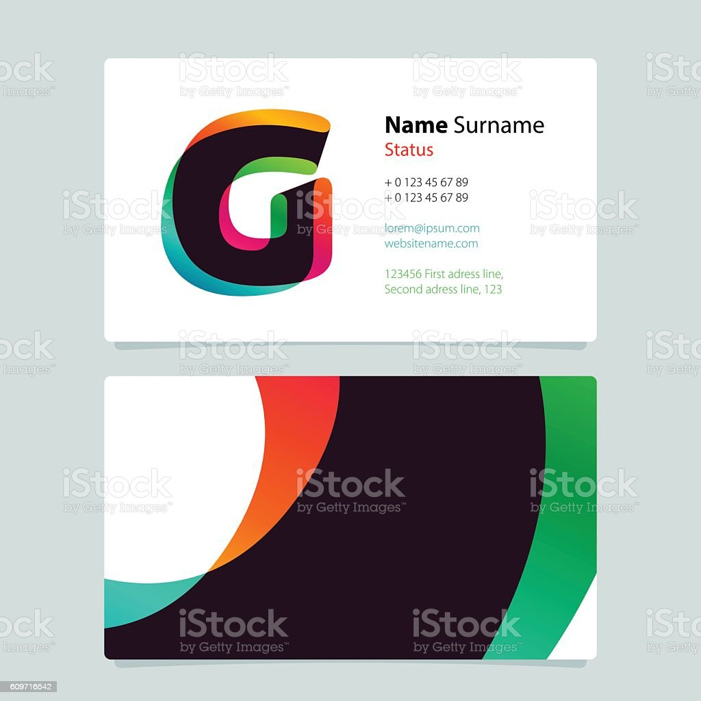 business card template design with overlay g icon アルファベットの