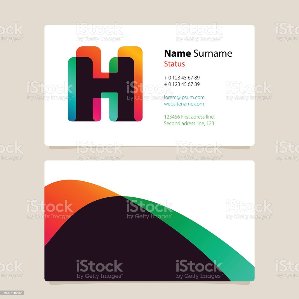 Business card template design with overlay h icon arte vetorial de business card template design with overlay h icon business card template design with overlay h reheart Gallery