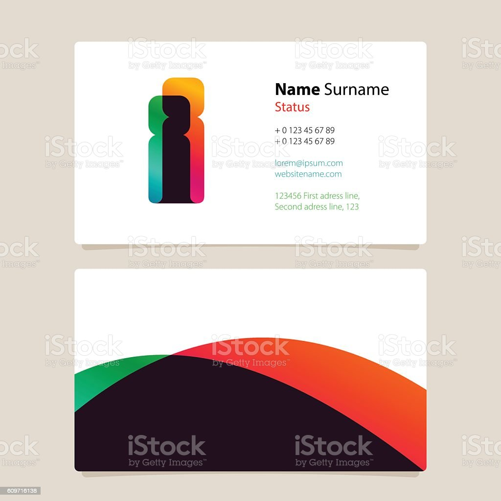 Business card template design with overlay i icon arte vetorial de business card template design with overlay i icon business card template design with overlay i reheart Gallery