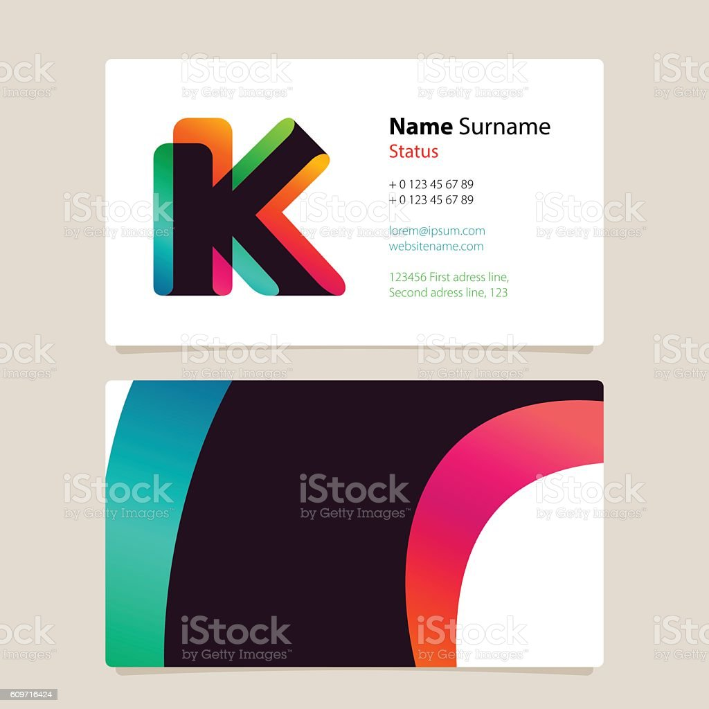 Business card template design with overlay k icon arte vetorial de business card template design with overlay k icon business card template design with overlay k reheart Gallery