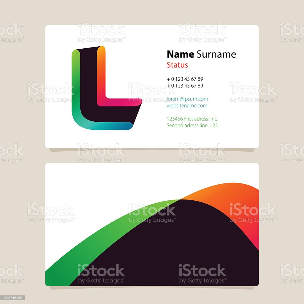 Business Card Template Design With Overlay L Icon Stock Vector Art