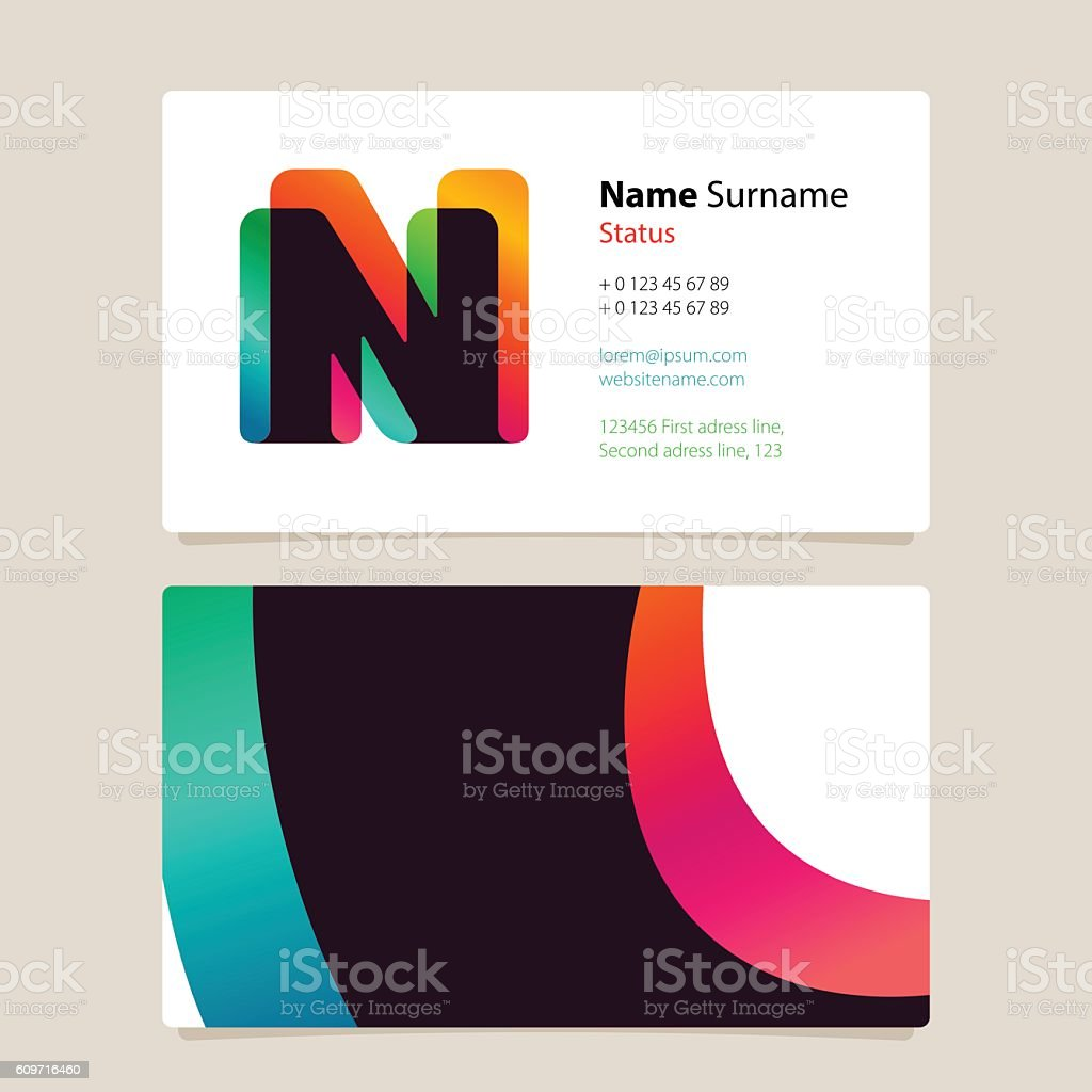 Business Card Template Design With Overlay N Icon Stock Vector Art ...