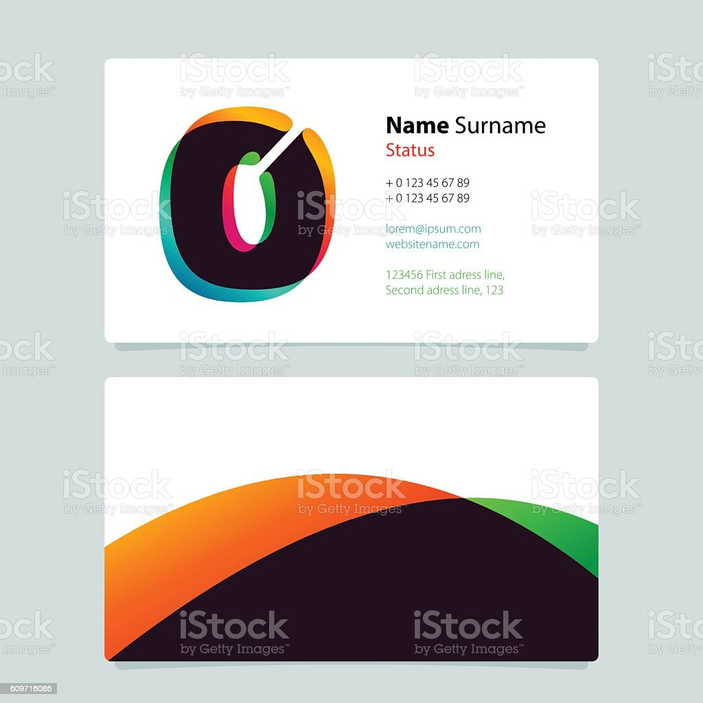 Business Card Template Design With Overlay O Icon Stock Vector Art