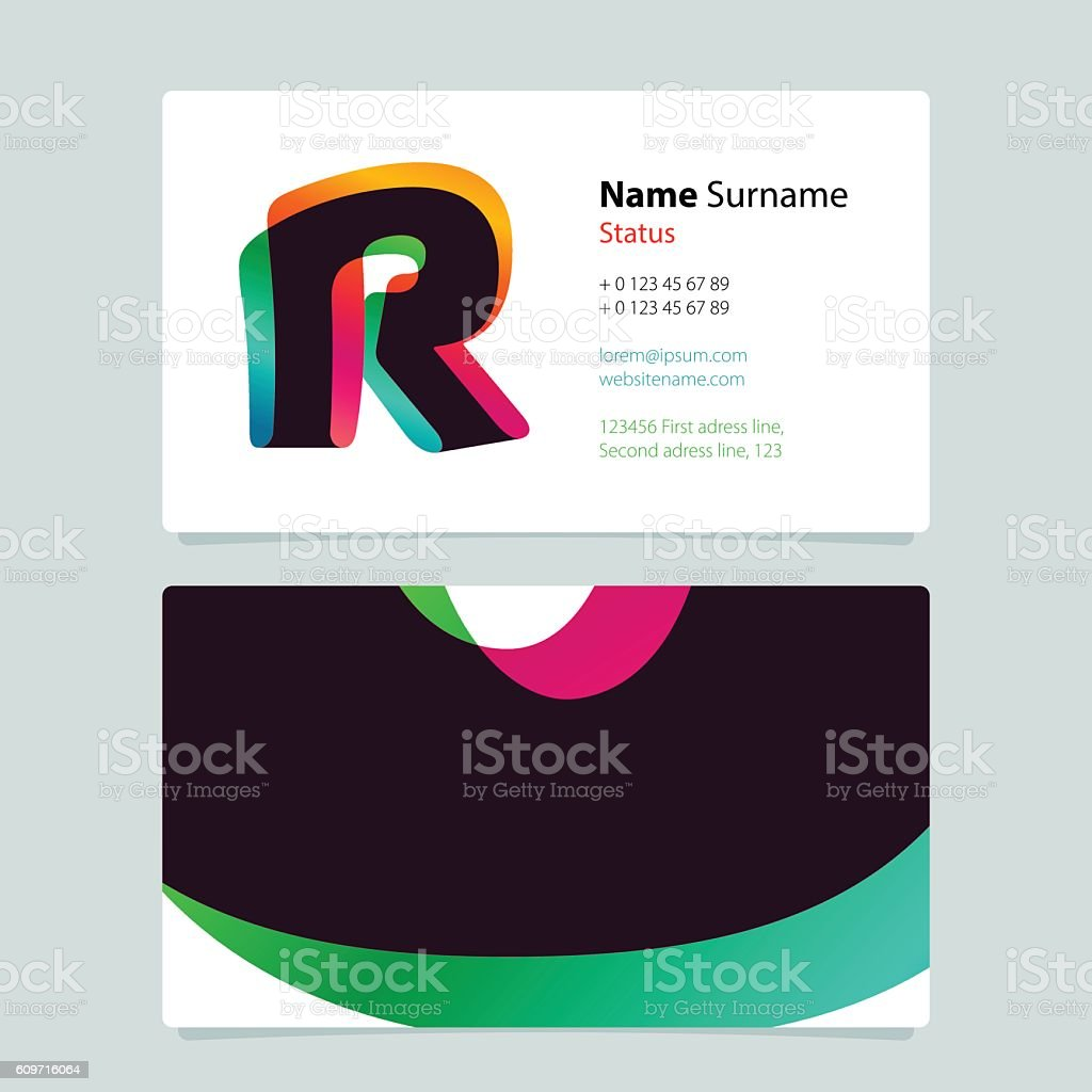Business Card Template Design With Overlay R Icon Stock Vector Art