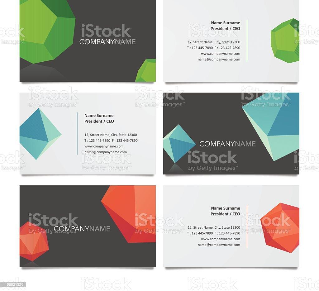 Business card template design with solids stock vector art business card diamond shaped geometric shape pyramid shape shape magicingreecefo Choice Image
