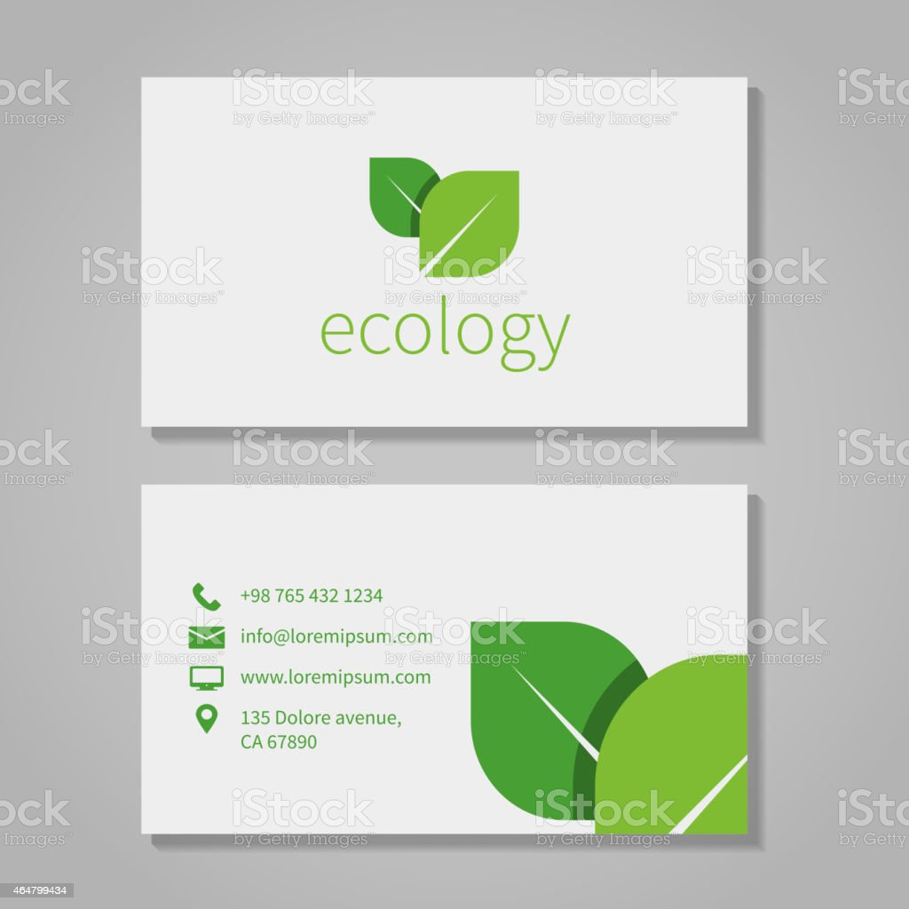 Business Card Template For An Ecological Company stock vector art – Company Information Template