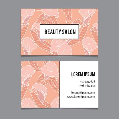 Business card template for beauty salon, spa, wellness etc. Vector art.