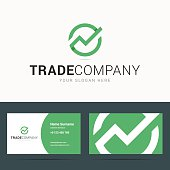Business card template for trade company.