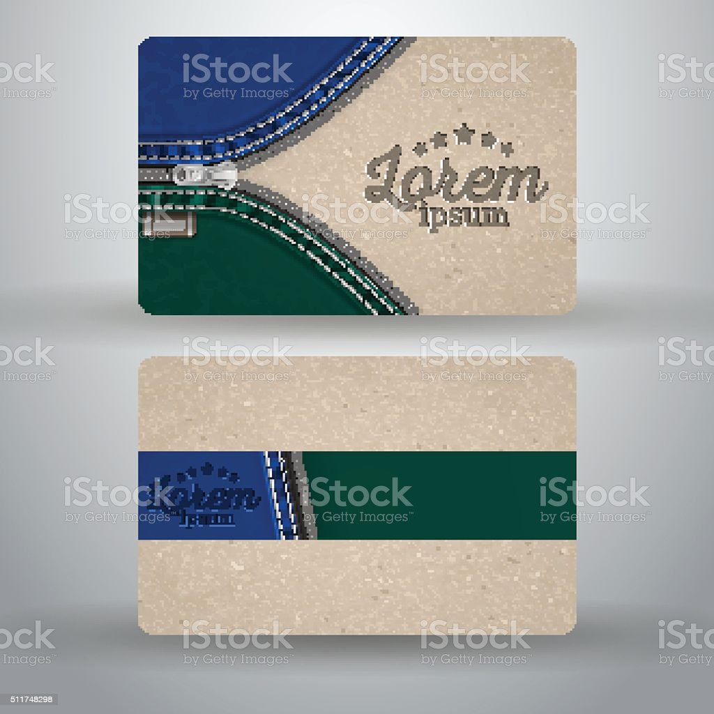 Business card template from cardboard and denim vector art illustration