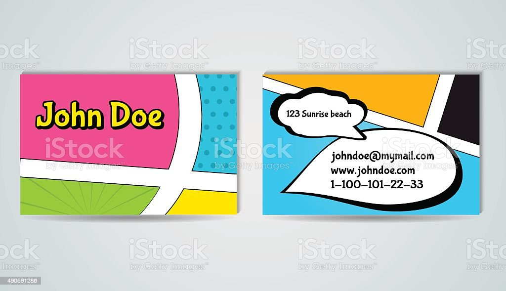 Business Card Template In Comic Style Stock Illustration Download Image Now Istock