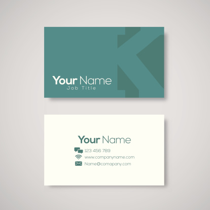 Business card template letter K