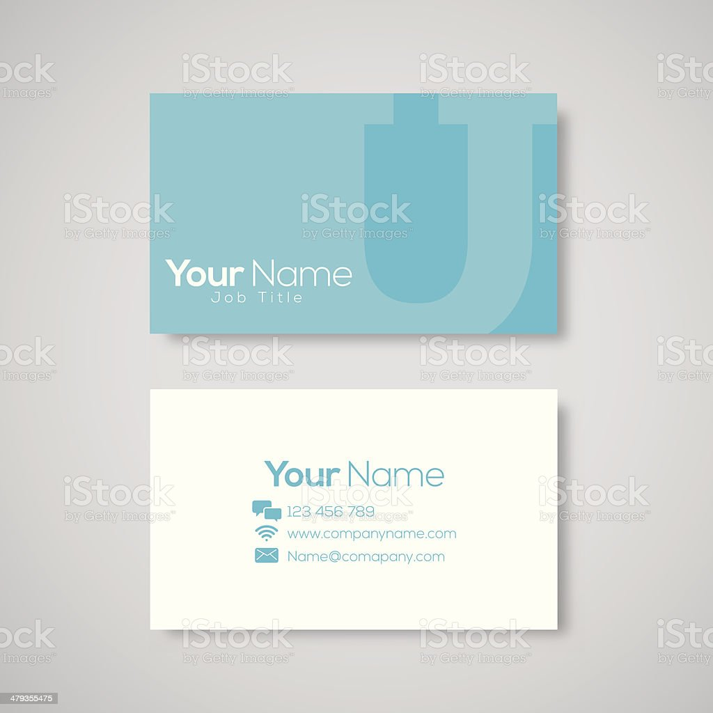 Business card template letter U vector art illustration