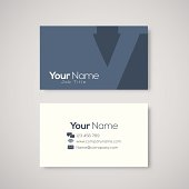 Business card template letter V