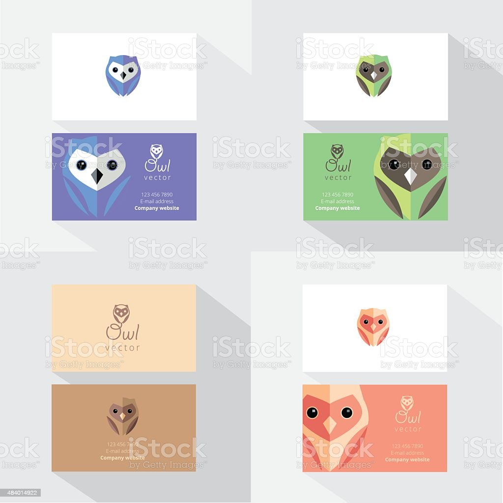 Business Card Template Mockups With Flat Design Owl Design Elements ...