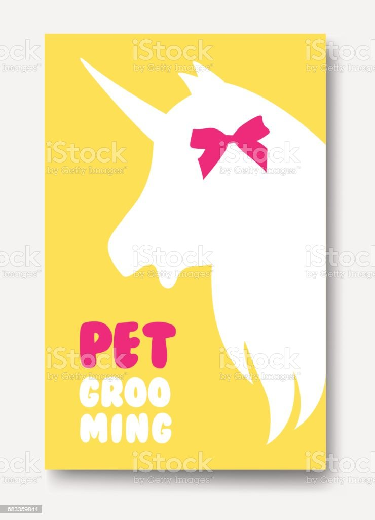 Business card template of grooming service pet with unicorns head silhouette vector art illustration
