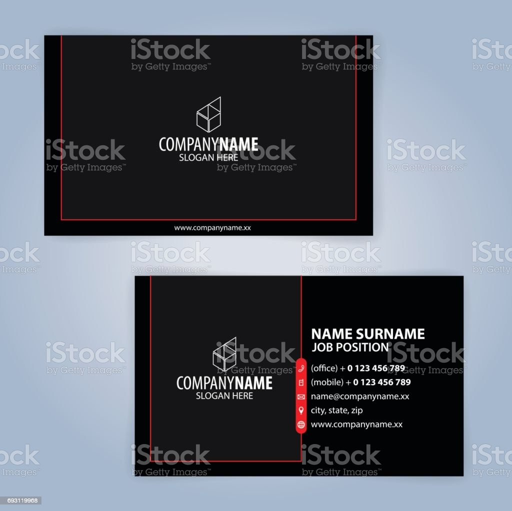 Business card template. Red and Black, Illustration Vector10 vector art illustration