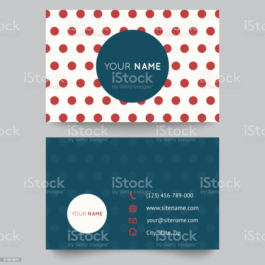 Business card template, red and white pattern vector design vector art illustration