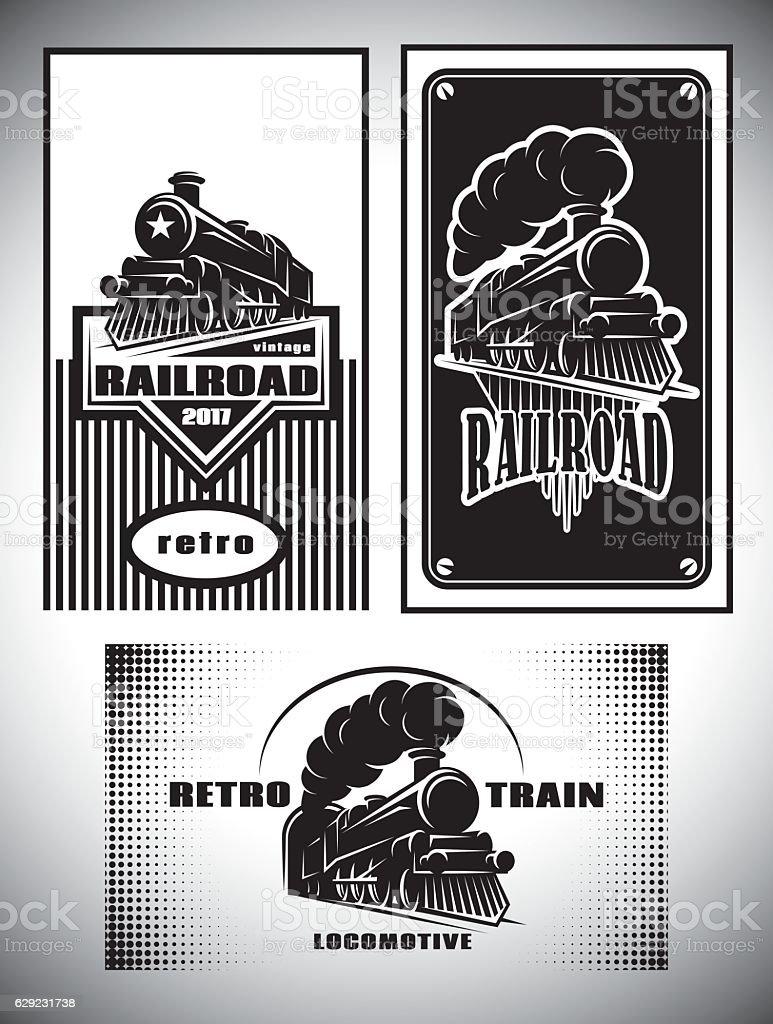 Business card template set. Vintage steam train, old retro railroad vector art illustration