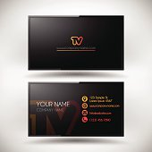 Business Card template shaped modern slim HDTV isolated on white background.