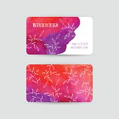 Business cards templates. Watercolor design. Cards with abstract watercolor stains and leaves. Red-violet background. Invitations, flyers. Vector illustration.