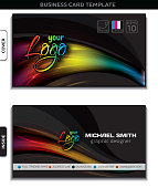 Business card template with modern backgrounds, CMYK colors, easy EPS 8 compatible with various image editors.