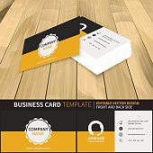 Business card template. Editable vector design with front and back side. Suitable for printing.