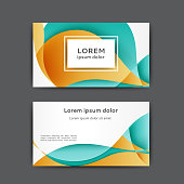 Color business card template with abstract lines and waves