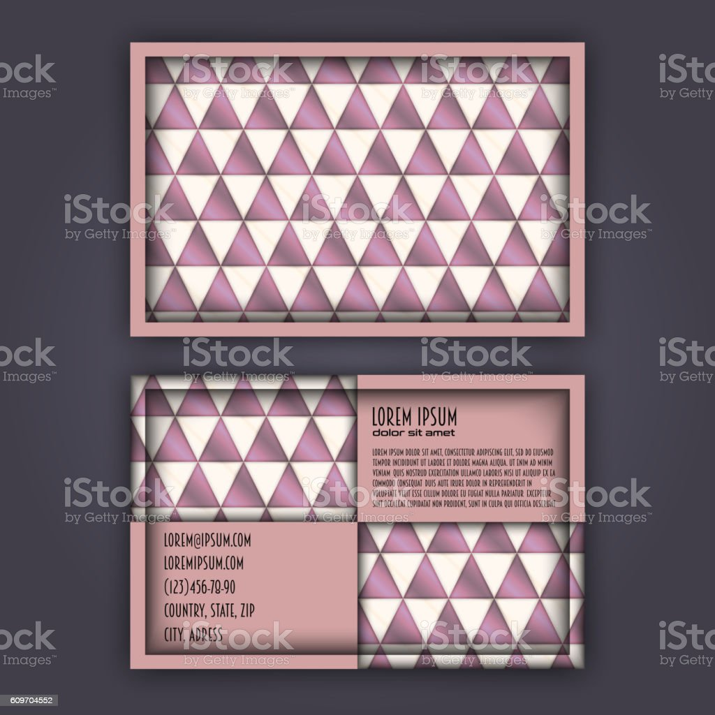 business card template with 3d paper colorful lines stock vector art