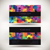 Business Card template with multicolored mosaic of triangles.