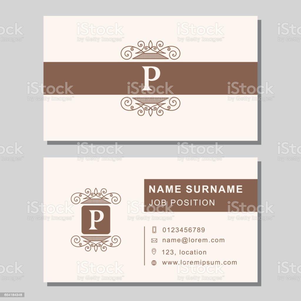 Business Card Template With Abstract Monogram Design Elements Vintage Elegant Emblem Letter P Creative